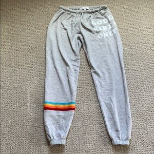 Spiritual Gangster Rainbow Stripe Jogger Sweatpant